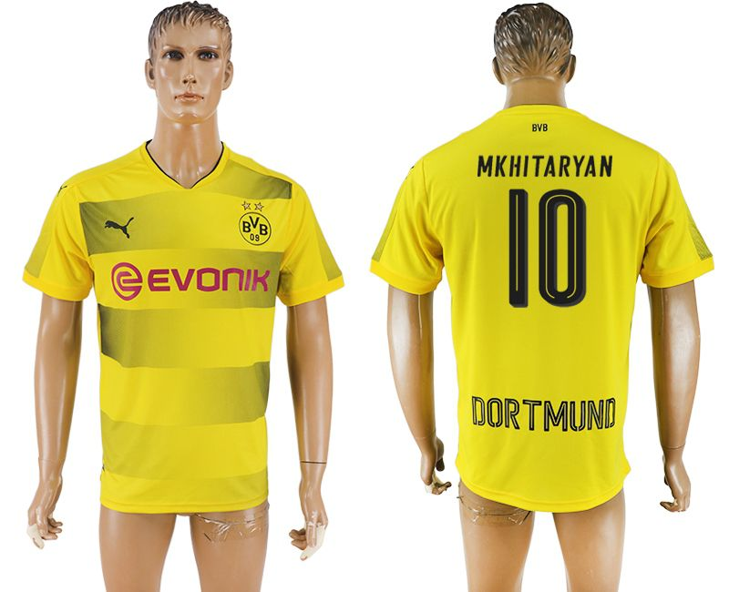 Men 2017-2018 club Borussia Dortmund home 10 yellow AAA soccer jersey
