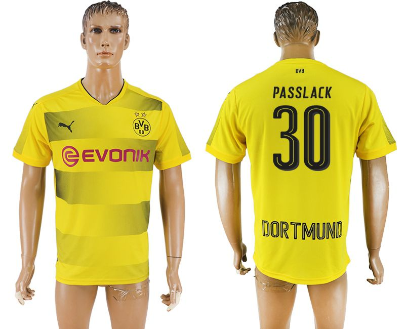 Men 2017-2018 club Borussia Dortmund home 30 yellow AAA soccer jersey