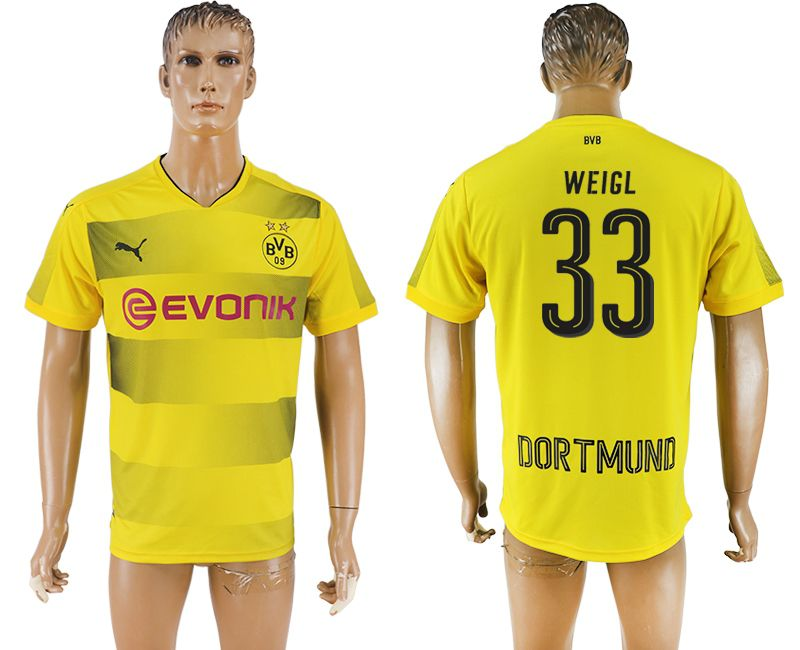 Men 2017-2018 club Borussia Dortmund home 33 yellow AAA soccer jersey