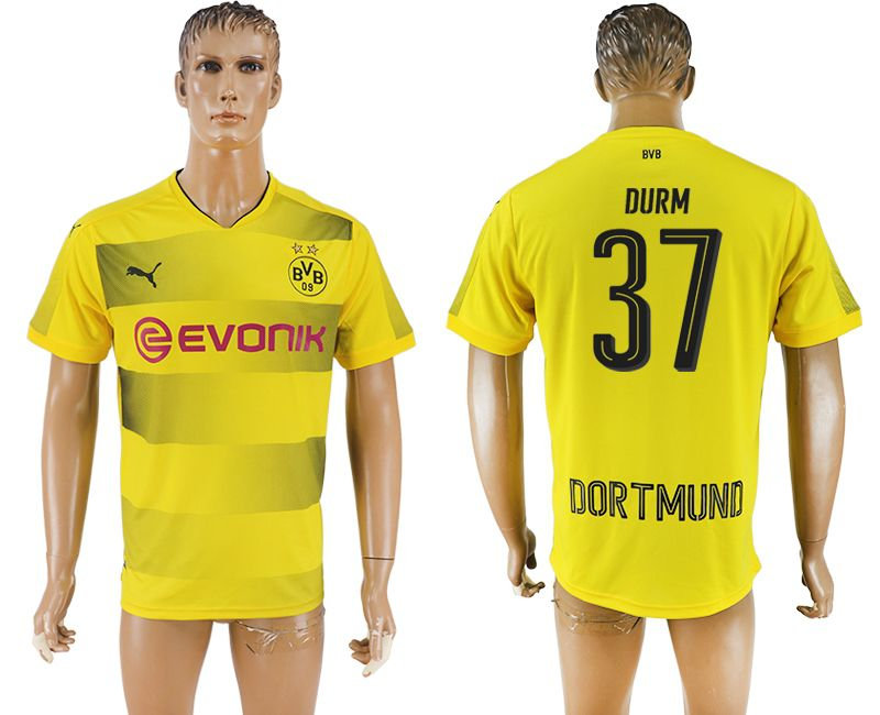 Men 2017-2018 club Borussia Dortmund home 37 yellow AAA soccer jersey
