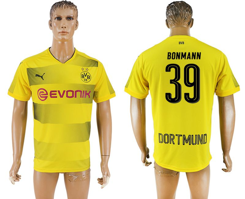 Men 2017-2018 club Borussia Dortmund home 39 yellow AAA soccer jersey