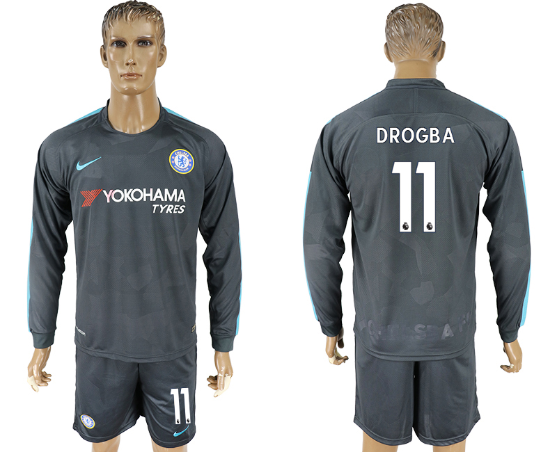 Men 2017-2018 club Chelsea away Long sleeve 11 Drogba soccer jersey