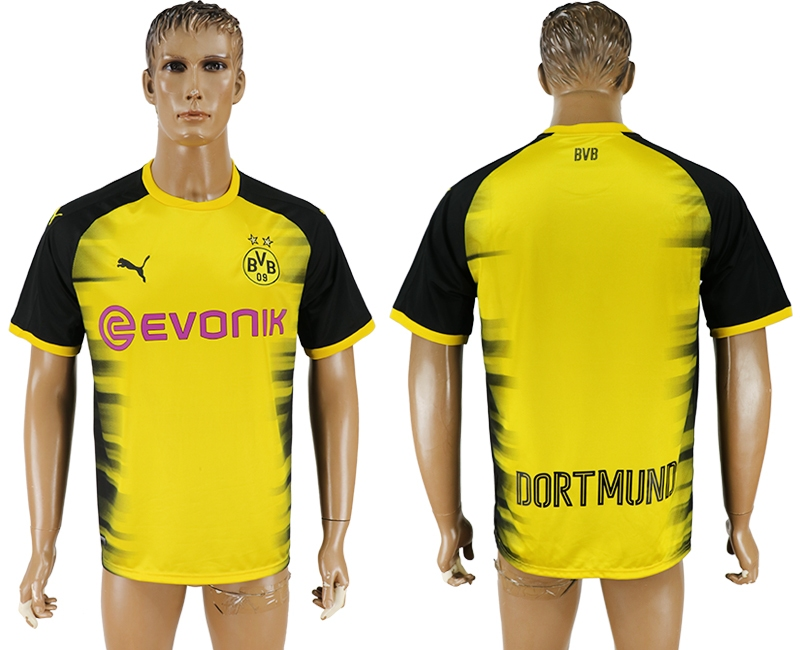 Men 2017-2018 club Dortmund home blank yellow AAA soccer jersey