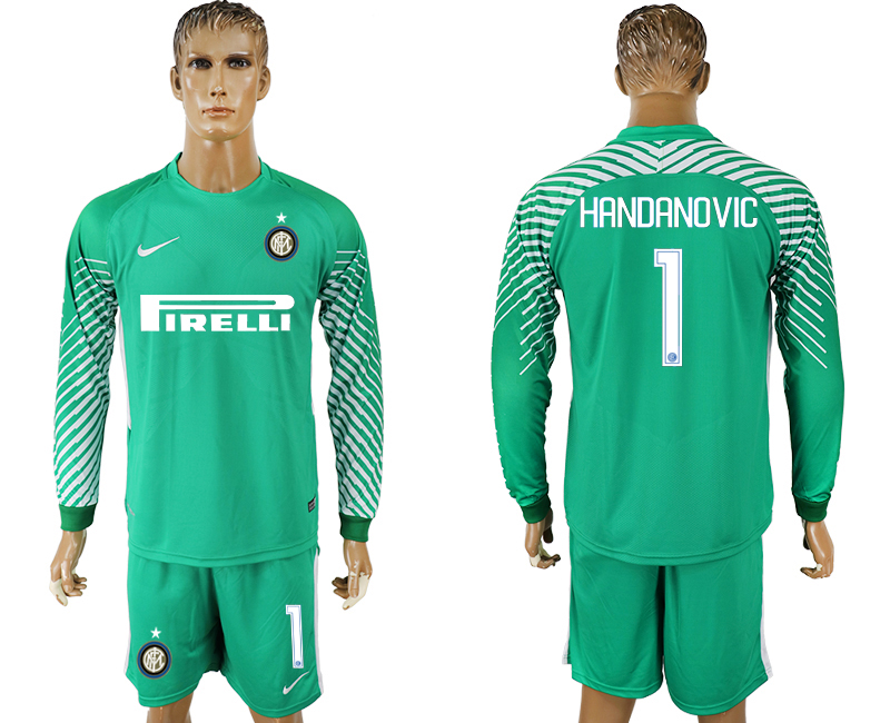 Men 2017-2018 club Inter milan green goalkeeper long sleeve 1 soccer jerseys