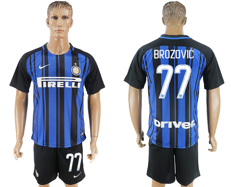 Men 2017-2018 club Inter milan home 77 blue soccer jersey