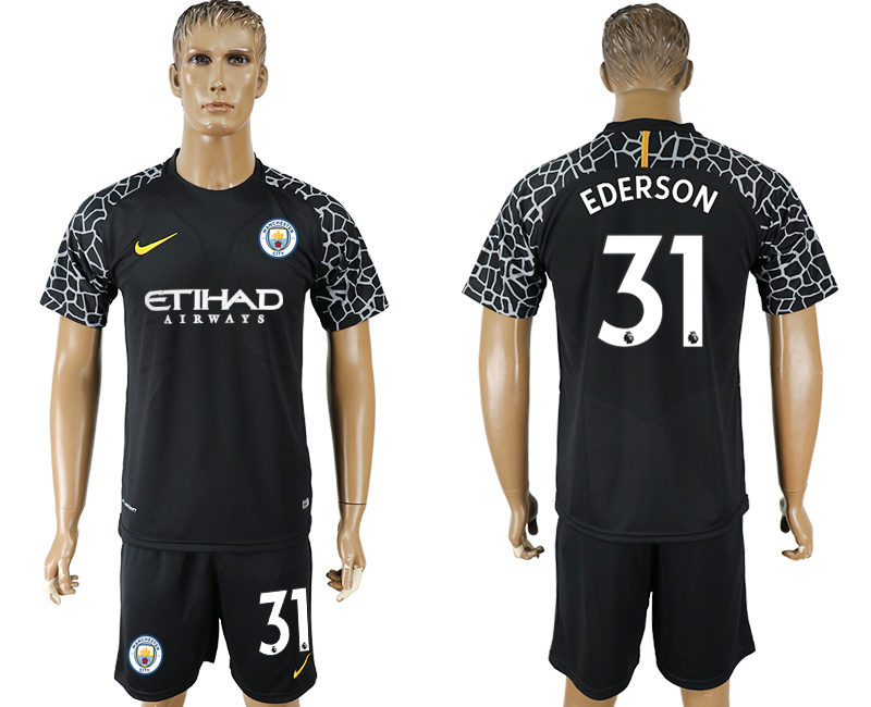 Men 2017-2018 club Manchester city black goalkeeper 31 soccer jersey