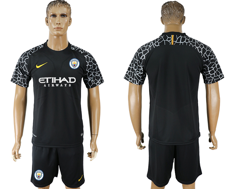 Men 2017-2018 club Manchester city black goalkeeper soccer jersey