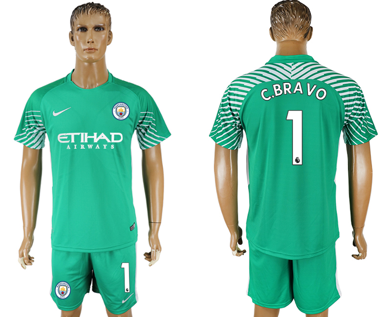 Men 2017-2018 club Manchester city green goalkeeper 1 soccer jersey