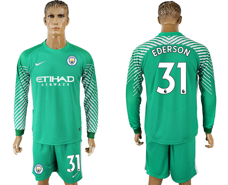Men 2017-2018 club Manchester city green goalkeeper long sleeve 31 soccer jerseys