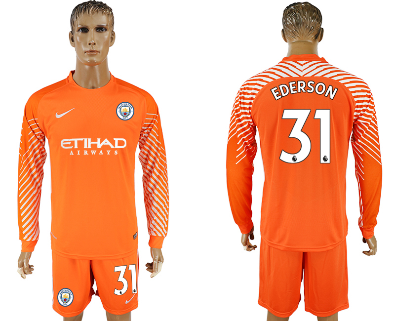 Men 2017-2018 club Manchester city orenge goalkeeper long sleeve 31 soccer jerseys