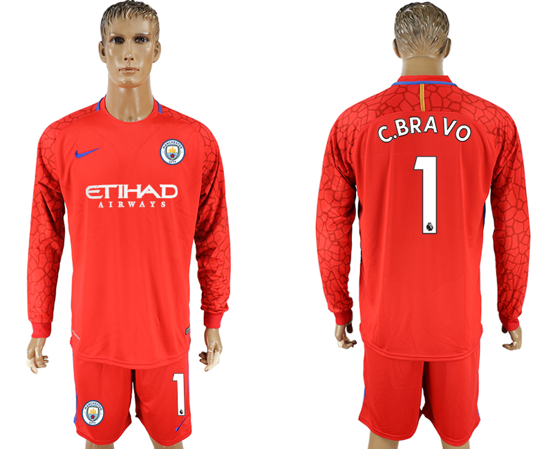 Men 2017-2018 club Manchester city red goalkeeper long sleeve 1 soccer jerseys