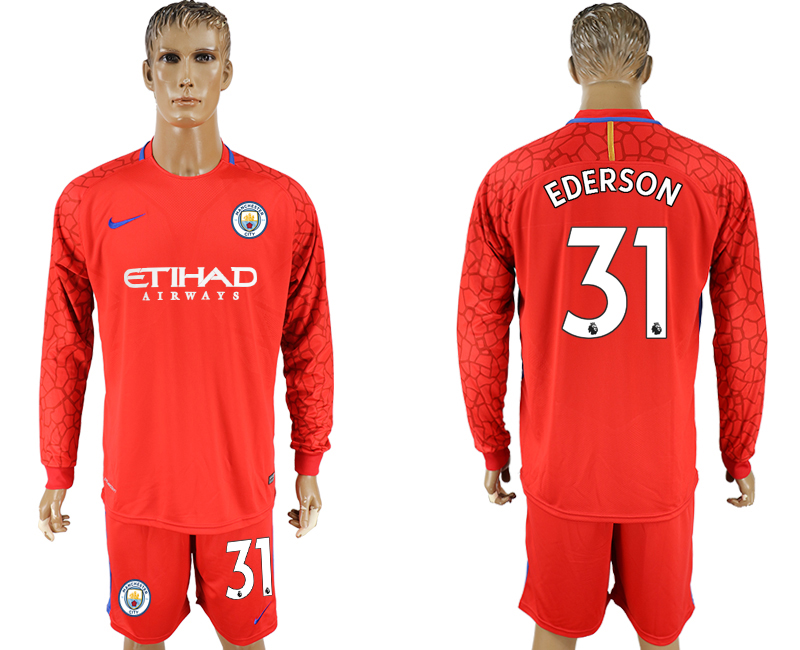 Men 2017-2018 club Manchester city red goalkeeper long sleeve 31 soccer jerseys
