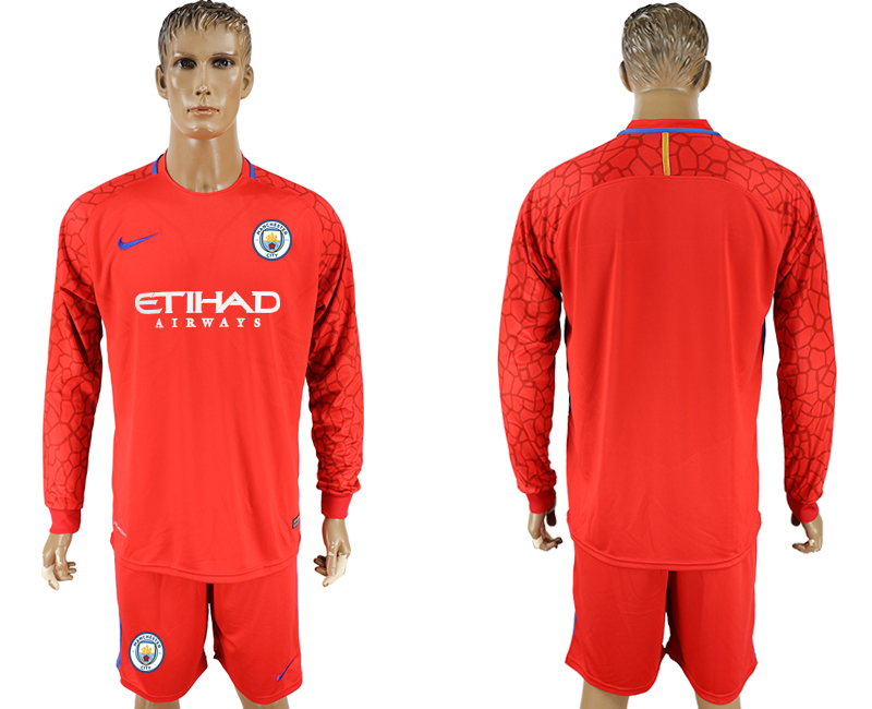 Men 2017-2018 club Manchester city red goalkeeper long sleeve soccer jerseys