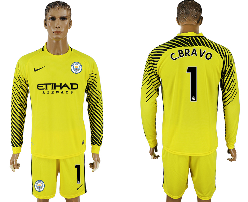 Men 2017-2018 club Manchester city yellow goalkeeper long sleeve 1 soccer jerseys