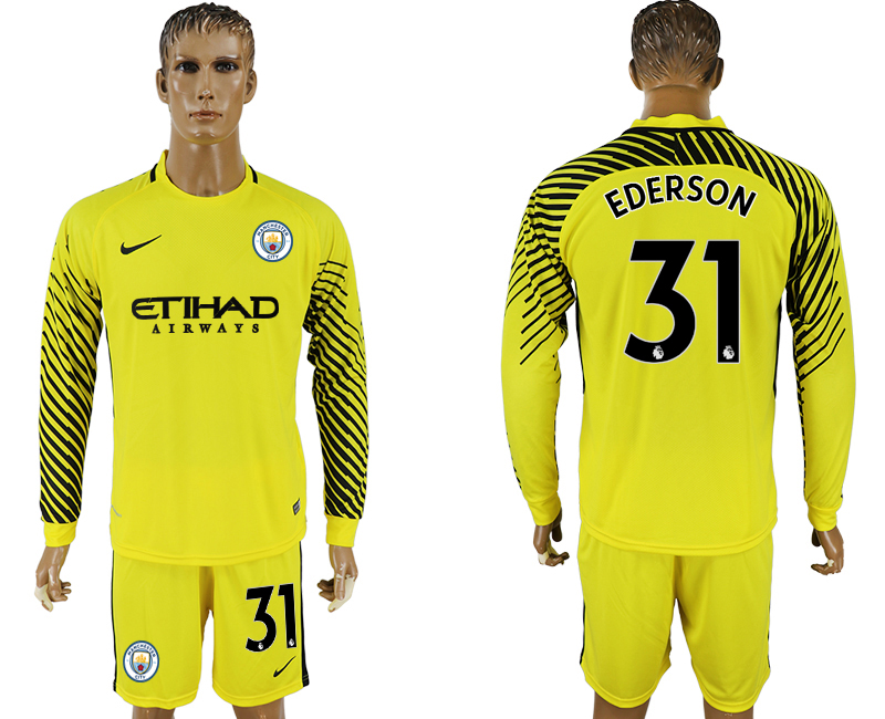 Men 2017-2018 club Manchester city yellow goalkeeper long sleeve 31 soccer jerseys
