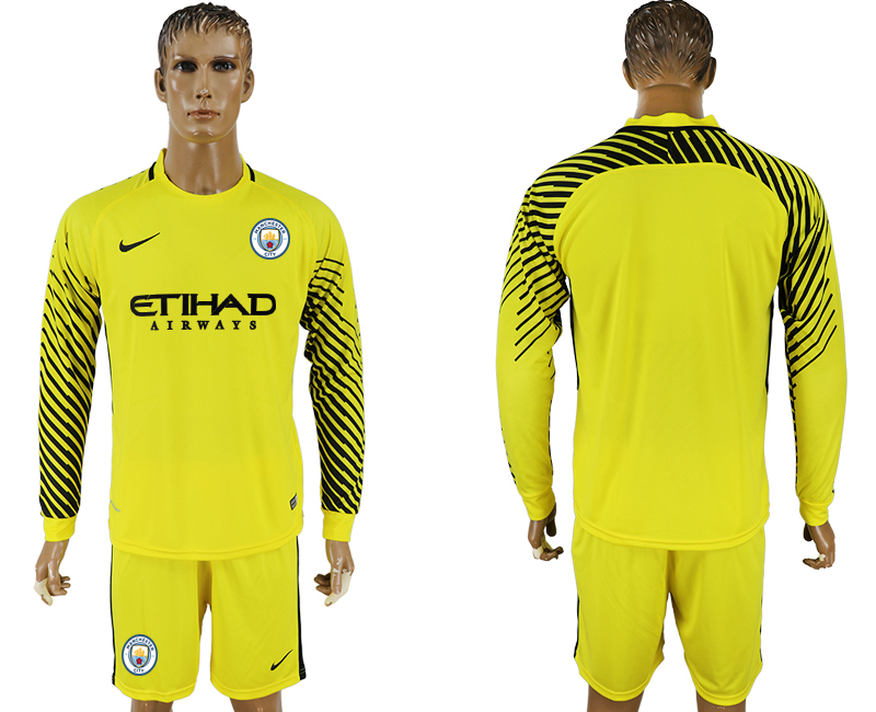 Men 2017-2018 club Manchester city yellow goalkeeper long sleeve soccer jerseys