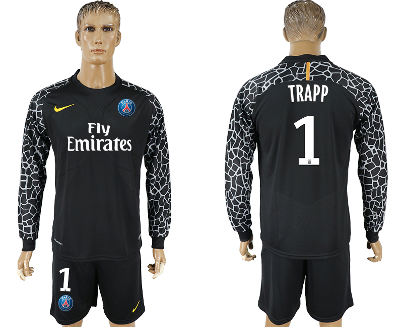 Men 2017-2018 club Paris saint germain black goalkeeper Long sleeve 1 soccer jersey