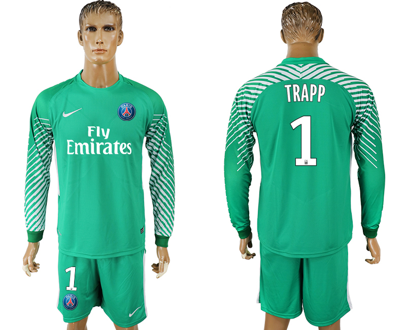 Men 2017-2018 club Paris saint germain green goalkeeper long sleeve 1 soccer jersey