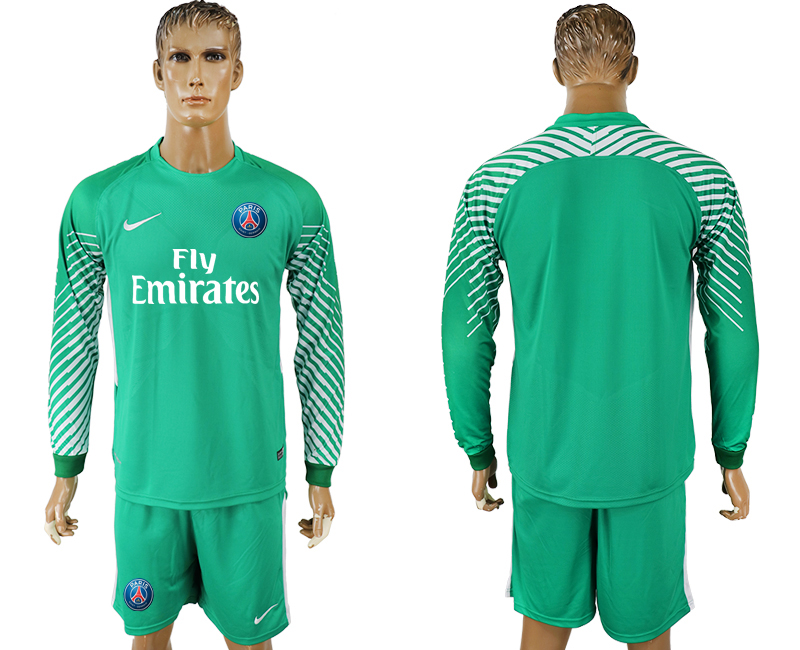 Men 2017-2018 club Paris saint germain green goalkeeper long sleeve soccer jersey