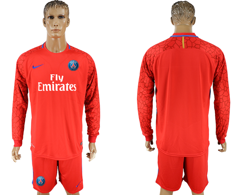 Men 2017-2018 club Paris saint germain red goalkeeper long sleeve soccer jersey