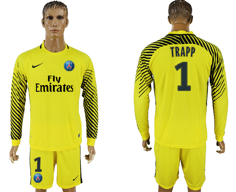 Men 2017-2018 club Paris saint germain yellow goalkeeper long sleeve 1 soccer jersey