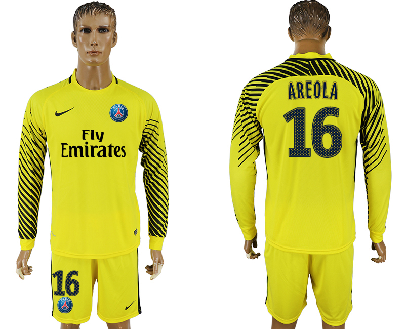 Men 2017-2018 club Paris saint germain yellow goalkeeper long sleeve 16 soccer jersey