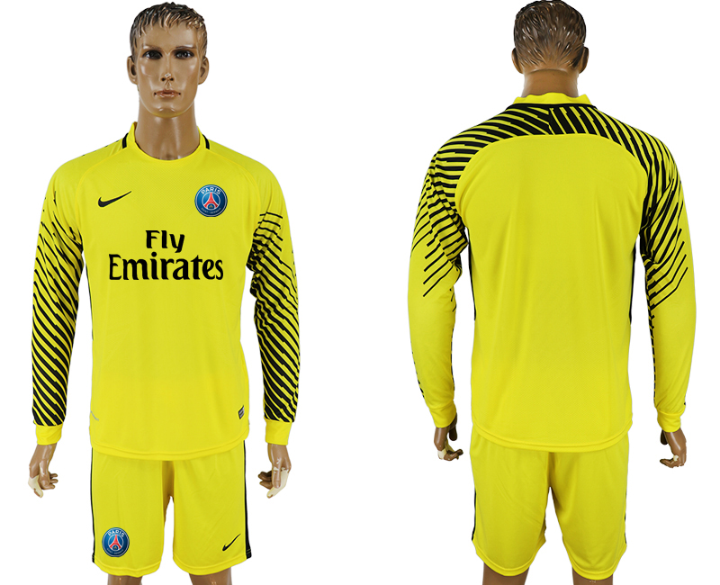 Men 2017-2018 club Paris saint germain yellow goalkeeper long sleeve soccer jersey