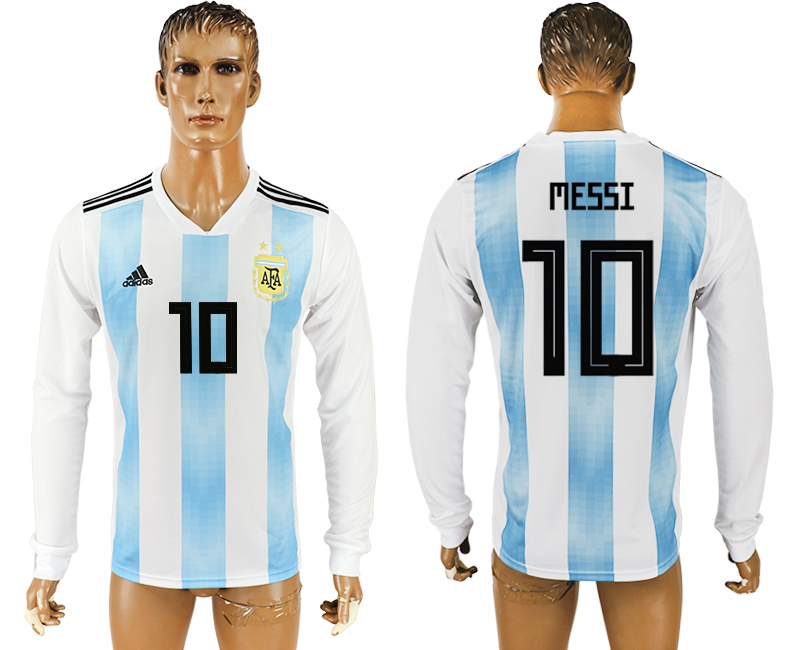 Men 2018 World Cup Argentina home long sleeve aaa version 10 white soccer jersey
