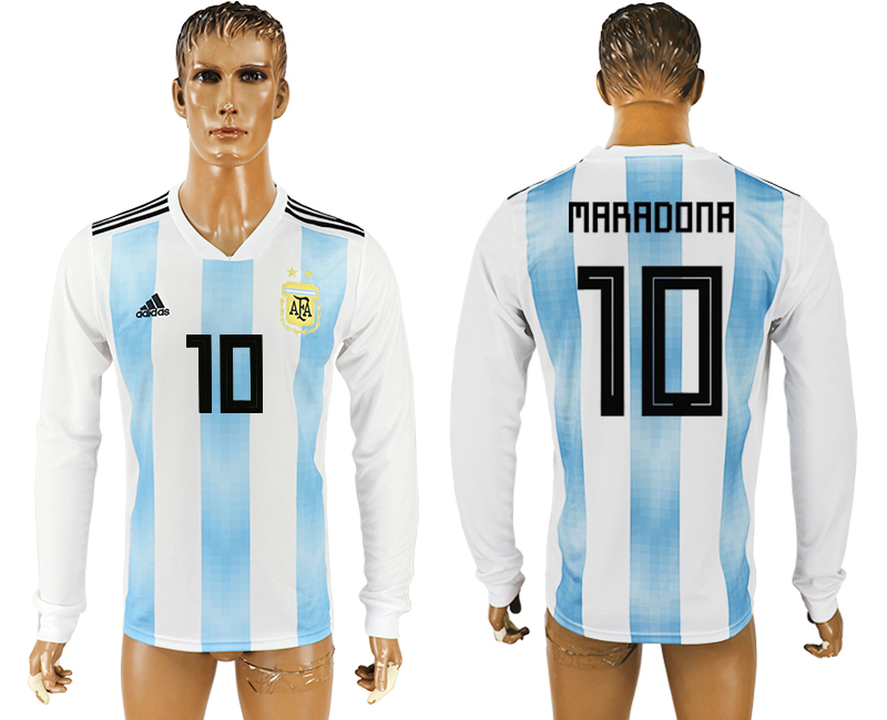 Men 2018 World Cup Argentina home long sleeve aaa version 10 white soccer jersey1