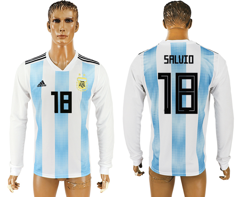 Men 2018 World Cup Argentina home long sleeve aaa version 18 white soccer jersey