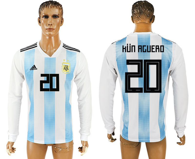 Men 2018 World Cup Argentina home long sleeve aaa version 20 white soccer jersey