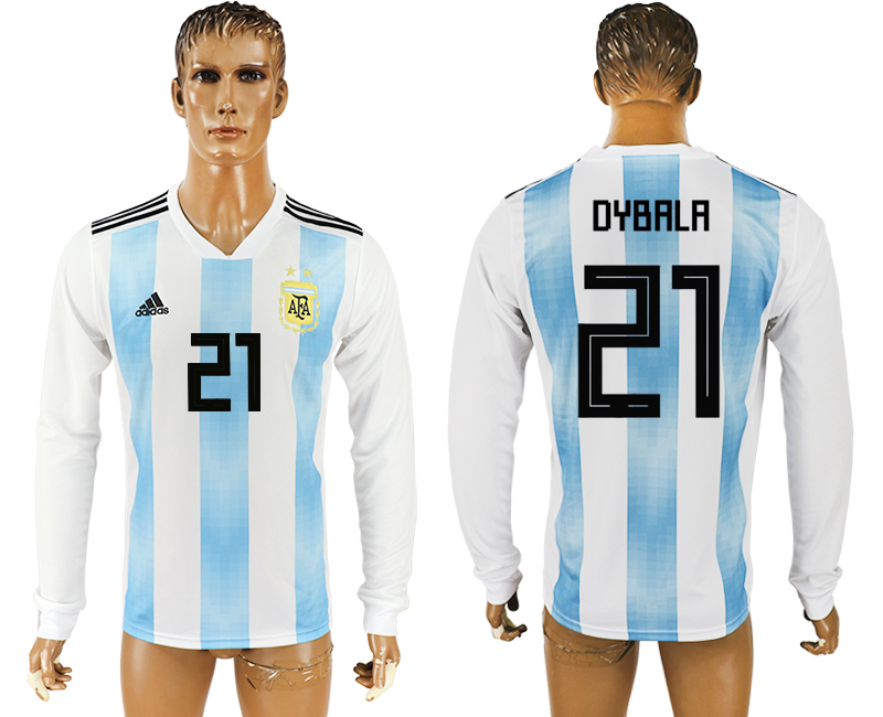 Men 2018 World Cup Argentina home long sleeve aaa version 21 white soccer jersey