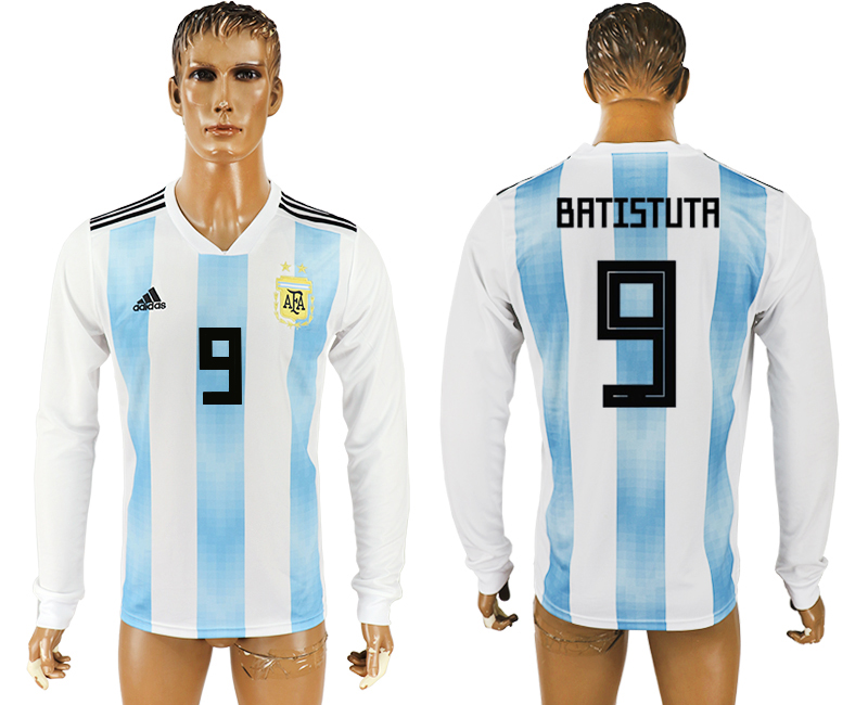 Men 2018 World Cup Argentina home long sleeve aaa version 9 white soccer jersey1
