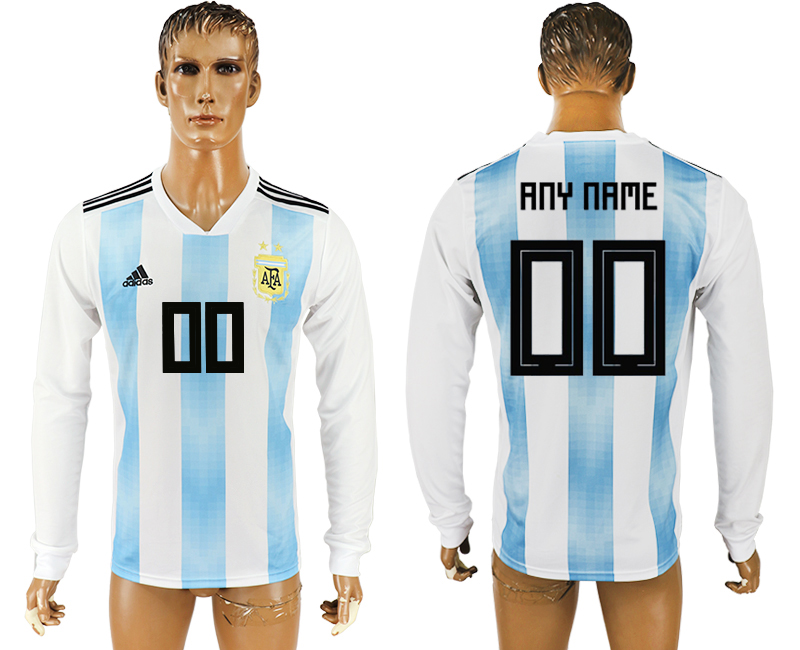 Men 2018 World Cup Argentina home long sleeve aaa version customized white soccer jersey