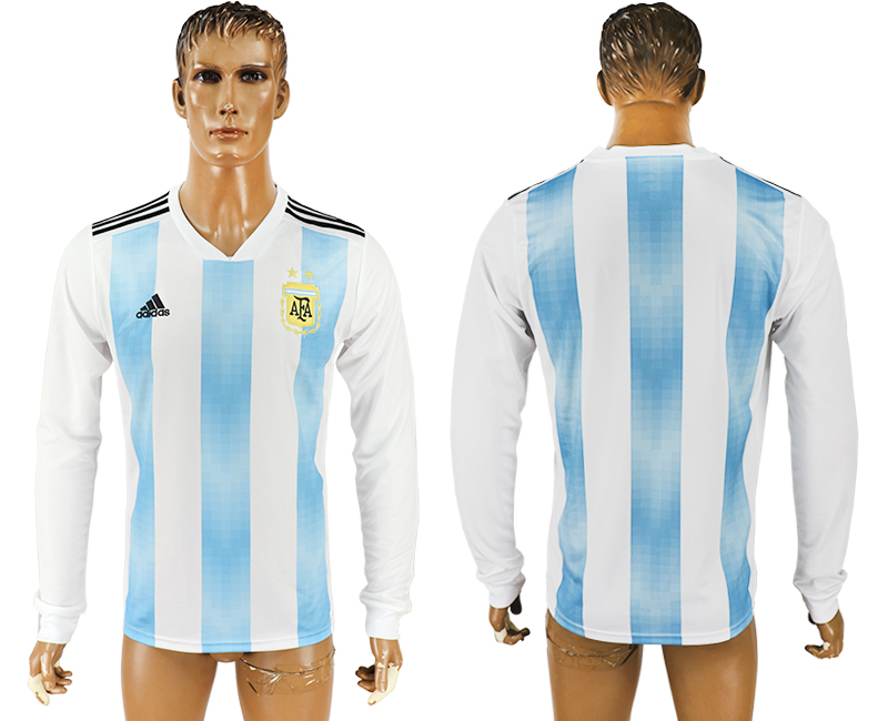 Men 2018 World Cup Argentina home long sleeve aaa version white soccer jersey