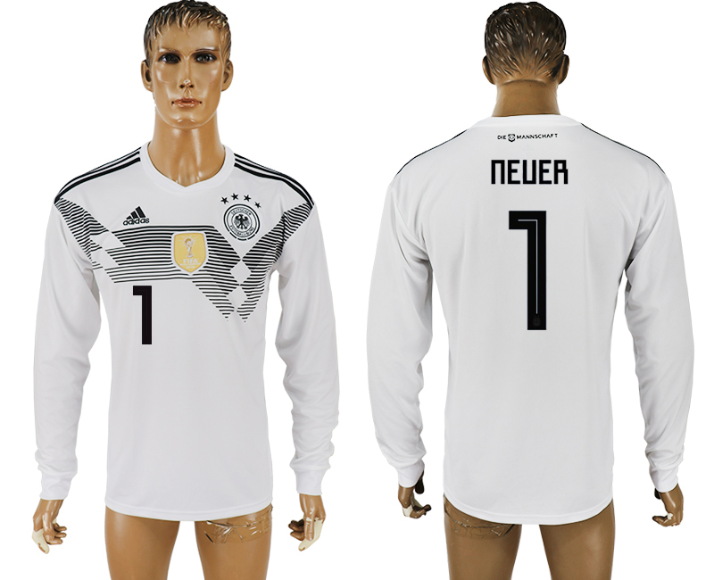 Men 2018 World Cup Germany home long sleeve aaa version 1 white soccer jersey
