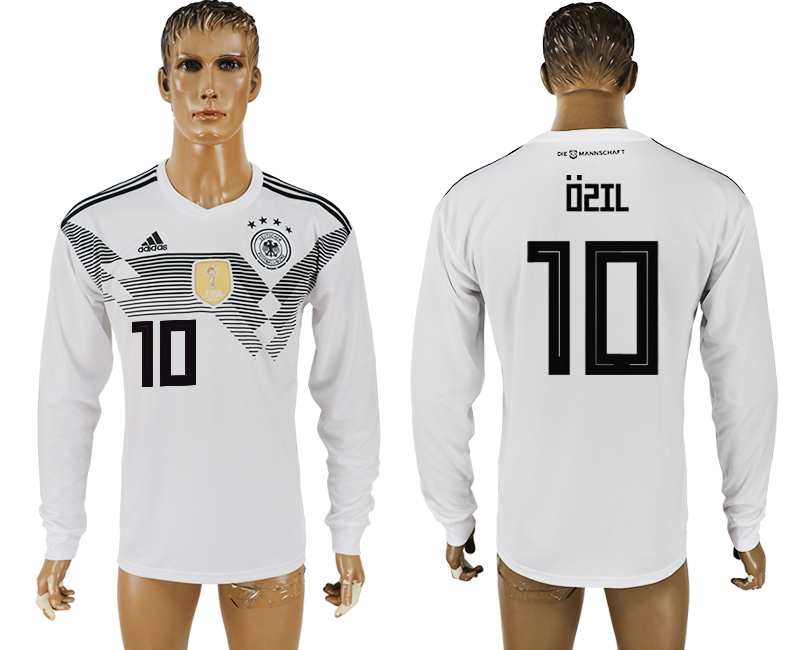 Men 2018 World Cup Germany home long sleeve aaa version 10 white soccer jersey