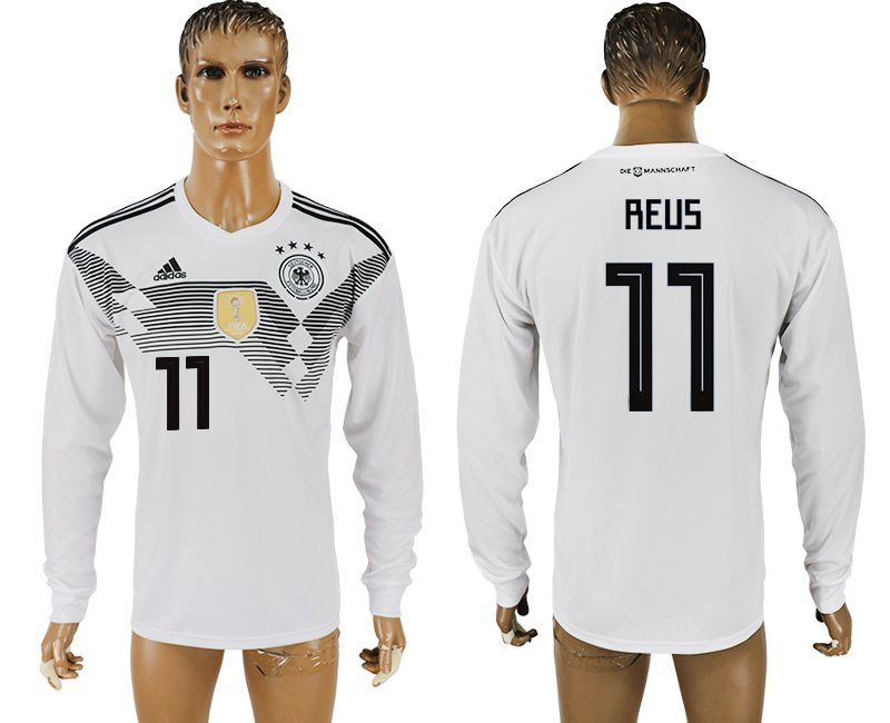 Men 2018 World Cup Germany home long sleeve aaa version 11 white soccer jersey