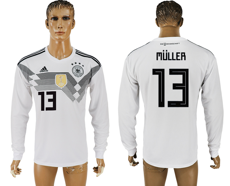 Men 2018 World Cup Germany home long sleeve aaa version 13 white soccer jersey1