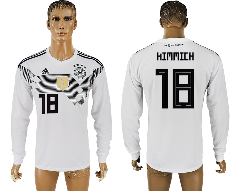 Men 2018 World Cup Germany home long sleeve aaa version 18 white soccer jersey