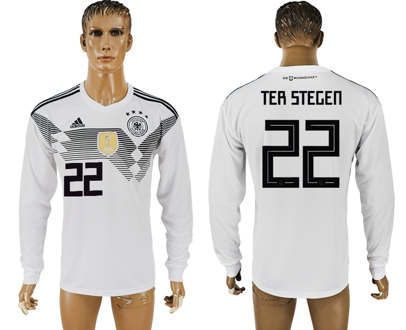 Men 2018 World Cup Germany home long sleeve aaa version 22 white soccer jersey