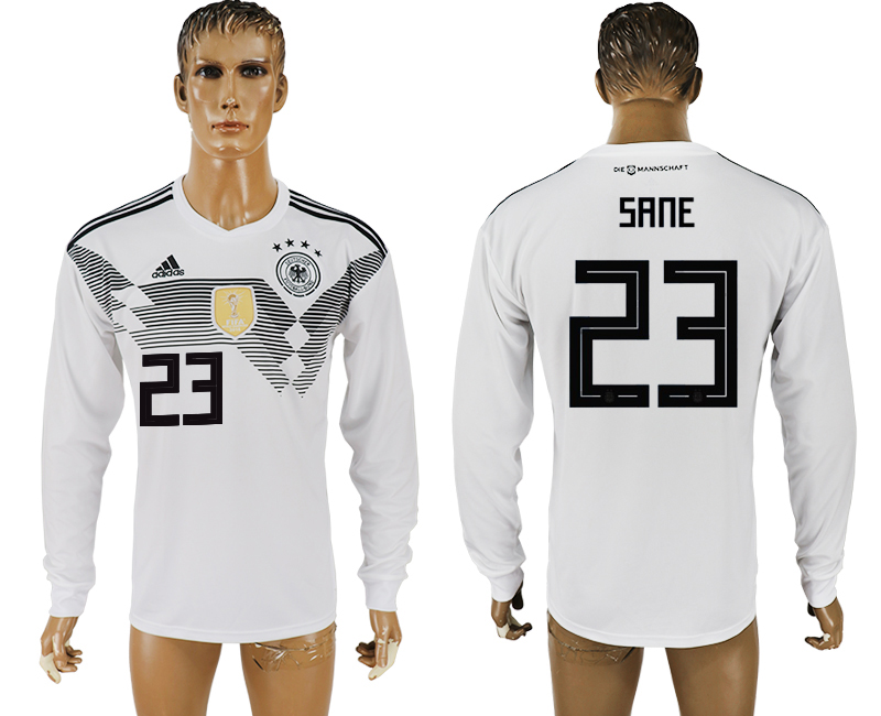 Men 2018 World Cup Germany home long sleeve aaa version 23 white soccer jersey