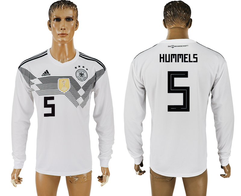 Men 2018 World Cup Germany home long sleeve aaa version 5 white soccer jersey