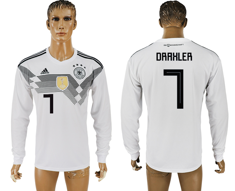 Men 2018 World Cup Germany home long sleeve aaa version 7 white soccer jersey