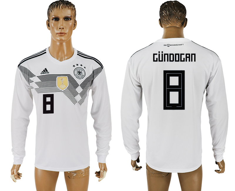 Men 2018 World Cup Germany home long sleeve aaa version 8 white soccer jersey1
