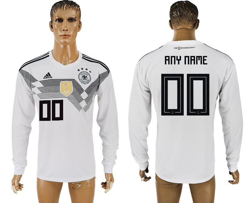 Men 2018 World Cup Germany home long sleeve aaa version customized white soccer jersey