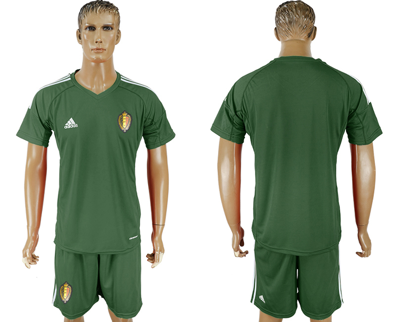 Men 2018 World Cup National Belgium Military green goalkeeper soccer jersey