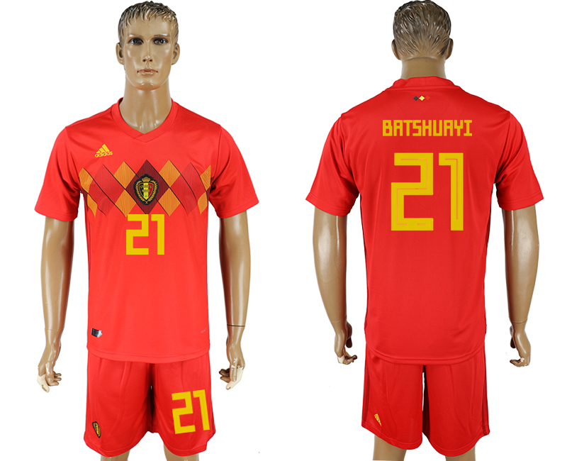 Men 2018 World Cup National Belgium home 21 red soccer jersey1