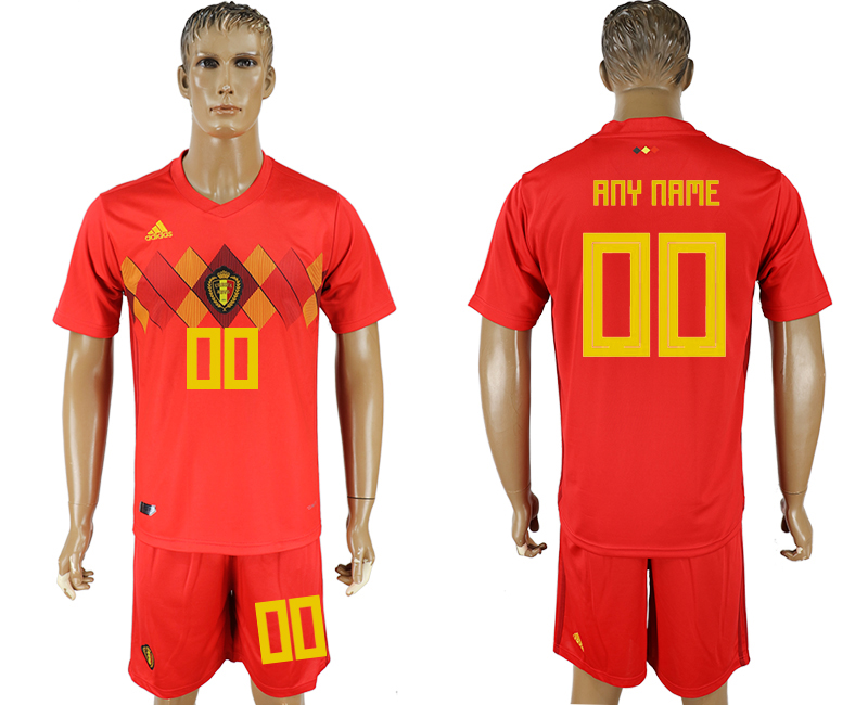 Men 2018 World Cup National Belgium home customized red soccer jersey