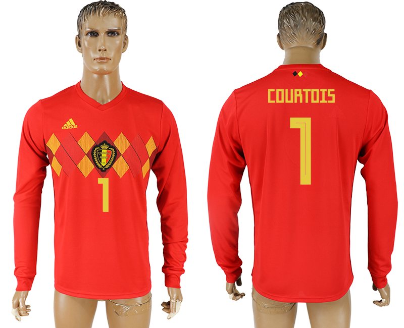 Men 2018 World Cup National Belgium home long sleeve aaa version 1 soccer jersey